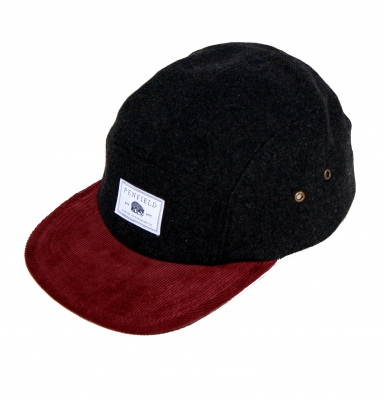 Penfield_Casper_5_Panel_Cap_Black_Burgundy gorra chico
