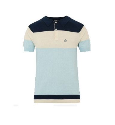 merc Gideon Bold Stripe Knitted Polo Shirt